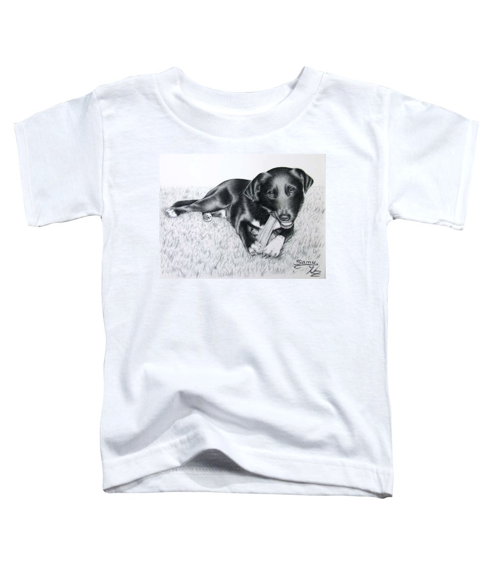 Dog Toddler T-Shirt featuring the drawing Labrador Samy by Nicole Zeug