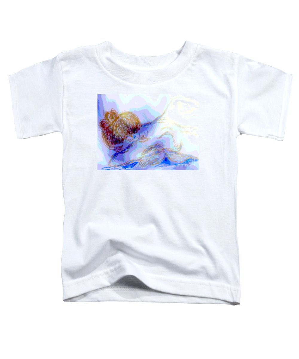Lady Toddler T-Shirt featuring the digital art Lady Crying by Shelley Jones