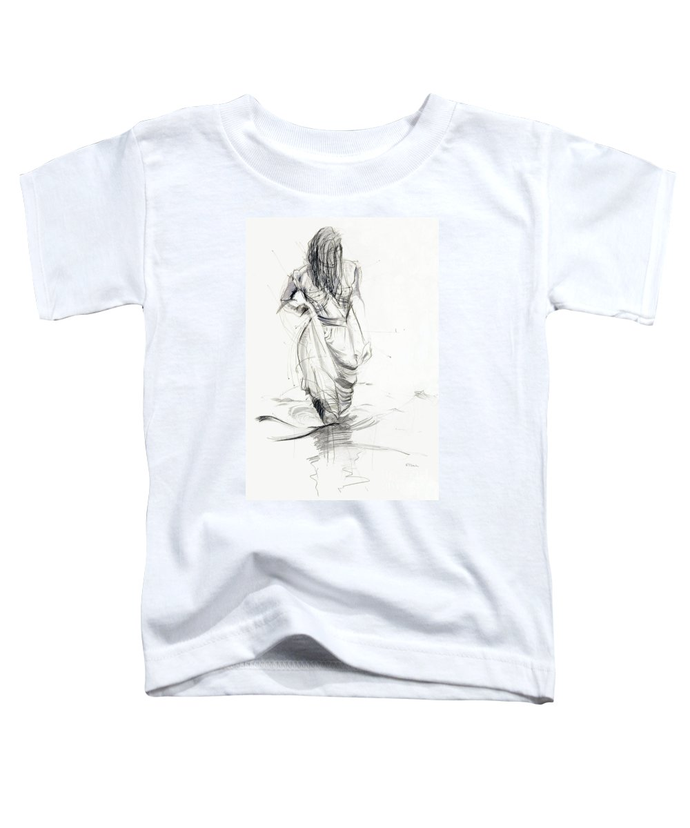 Woman Toddler T-Shirt featuring the drawing Lady In The Waters by Kerryn Madsen-Pietsch