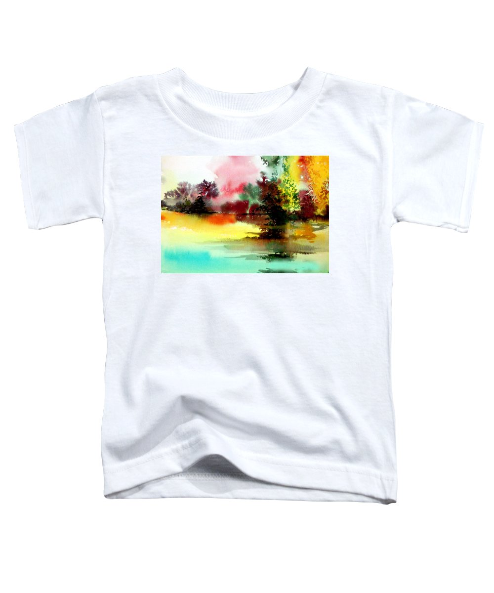 Nature Toddler T-Shirt featuring the painting Lake In Colours by Anil Nene