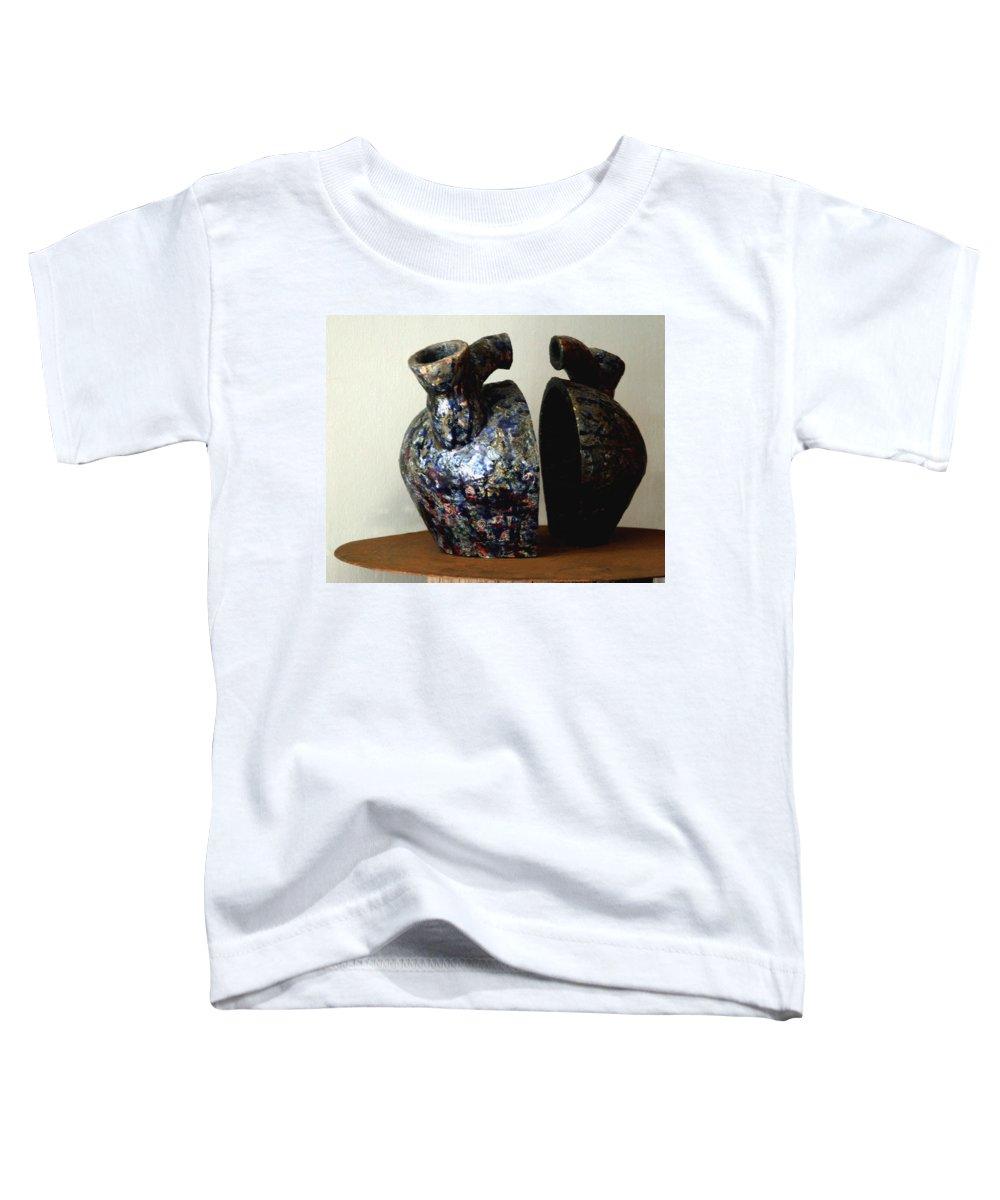 Ceramic Toddler T-Shirt featuring the sculpture Las Venas Abiertas De America Latina by Madalena Lobao-Tello