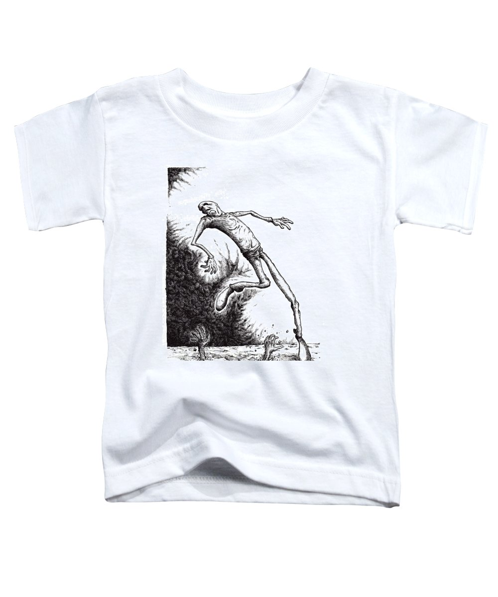 Black And White Toddler T-Shirt featuring the drawing Leap by Tobey Anderson