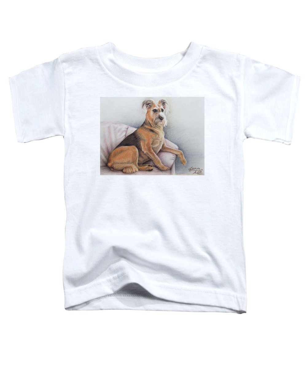 Dog Toddler T-Shirt featuring the pastel Lena by Nicole Zeug