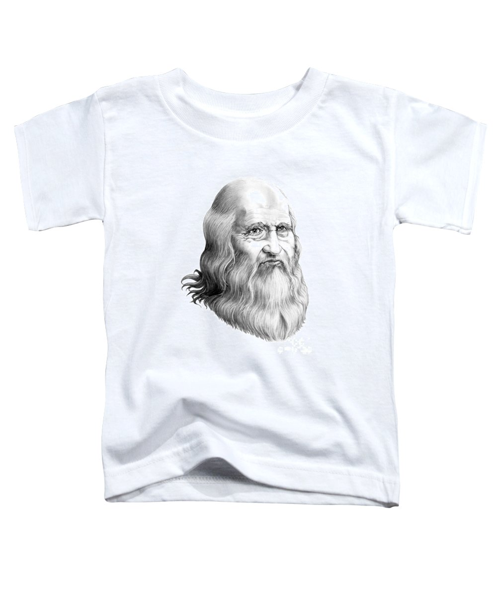 Famous Person Toddler T-Shirt featuring the drawing Leonardo Da Vinci by Murphy Elliott