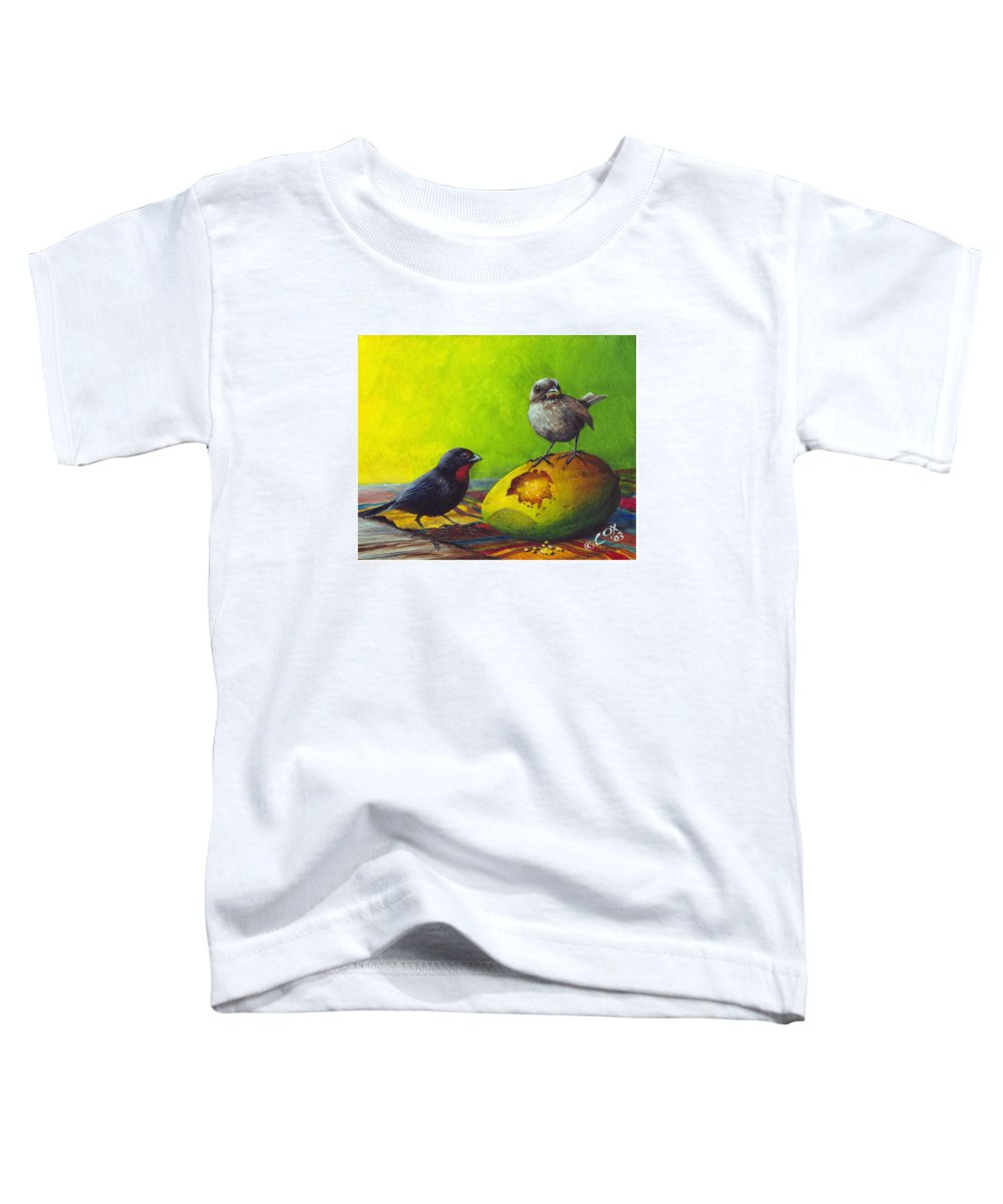 Chris Cox Toddler T-Shirt featuring the painting Lesser Antillean Bullfinches And Mango by Christopher Cox