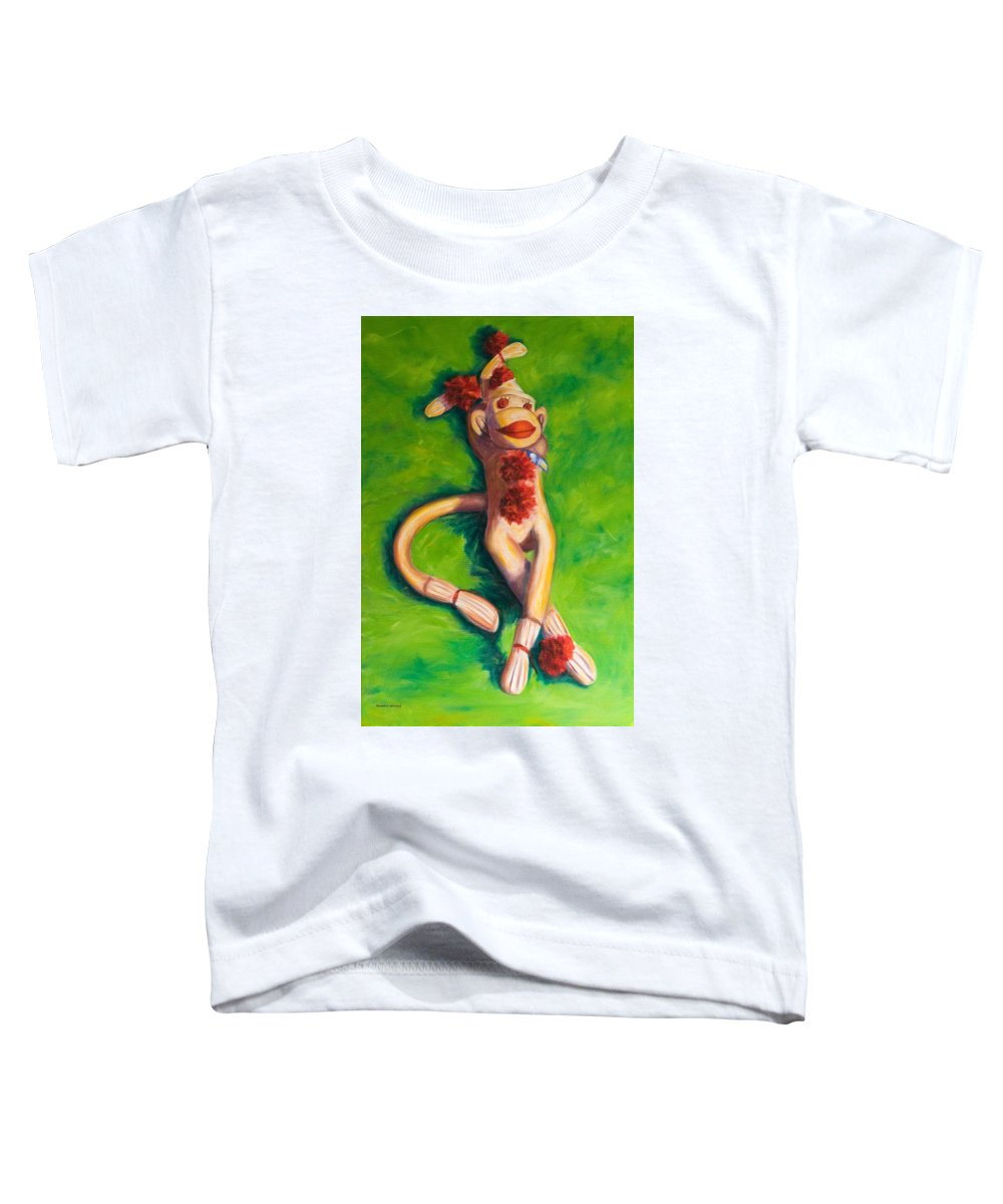 Sock Monkey Toddler T-Shirt featuring the painting Life Is Good by Shannon Grissom