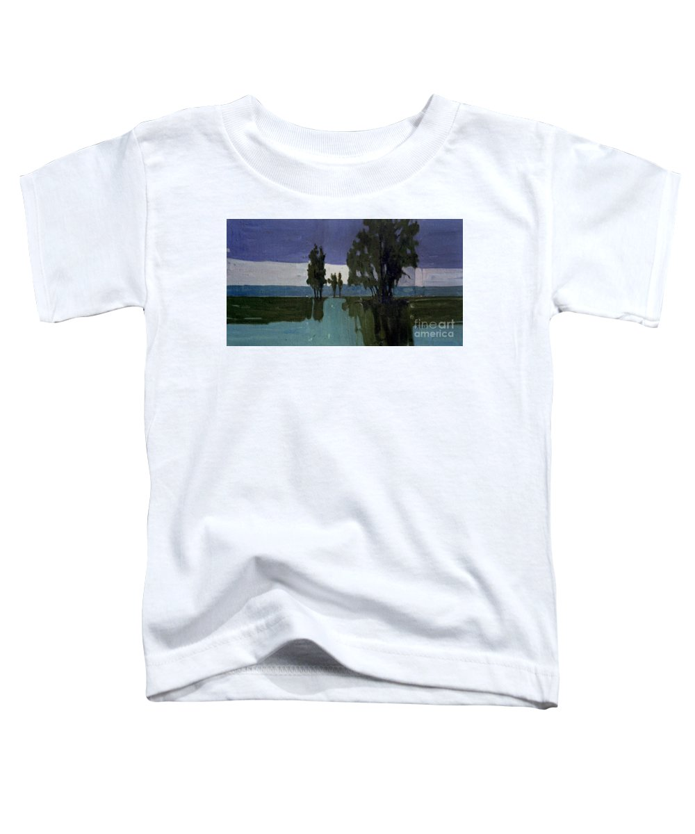 Nocturne Toddler T-Shirt featuring the painting Lights On The Horizon by Donald Maier