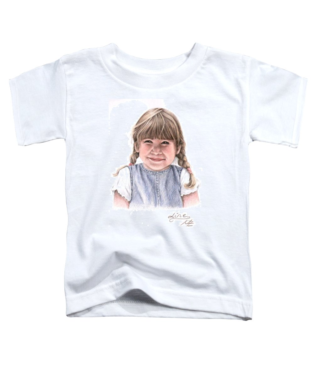 Girl Toddler T-Shirt featuring the drawing Little Girl by Nicole Zeug