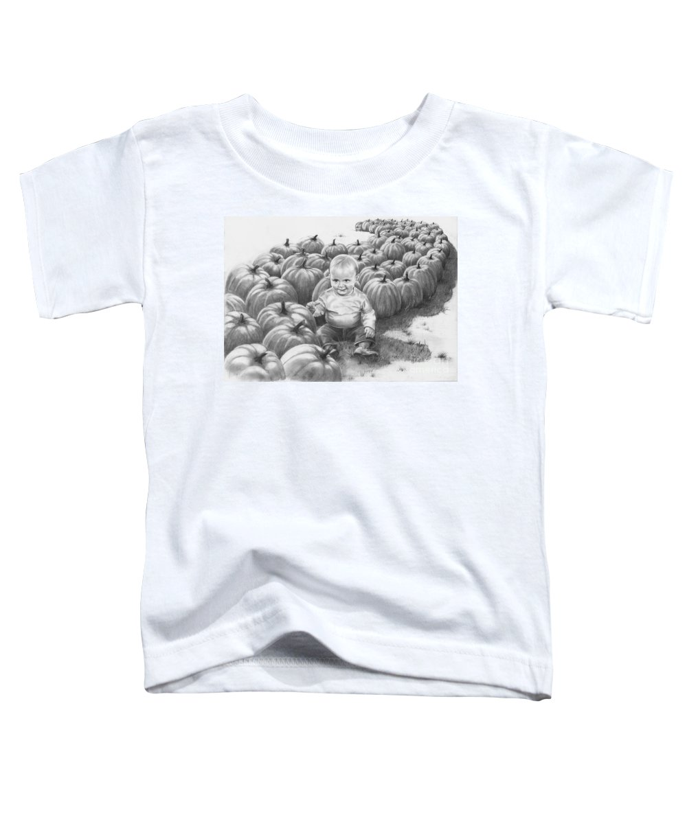 Charity Toddler T-Shirt featuring the drawing Little Pumpkin by Murphy Elliott
