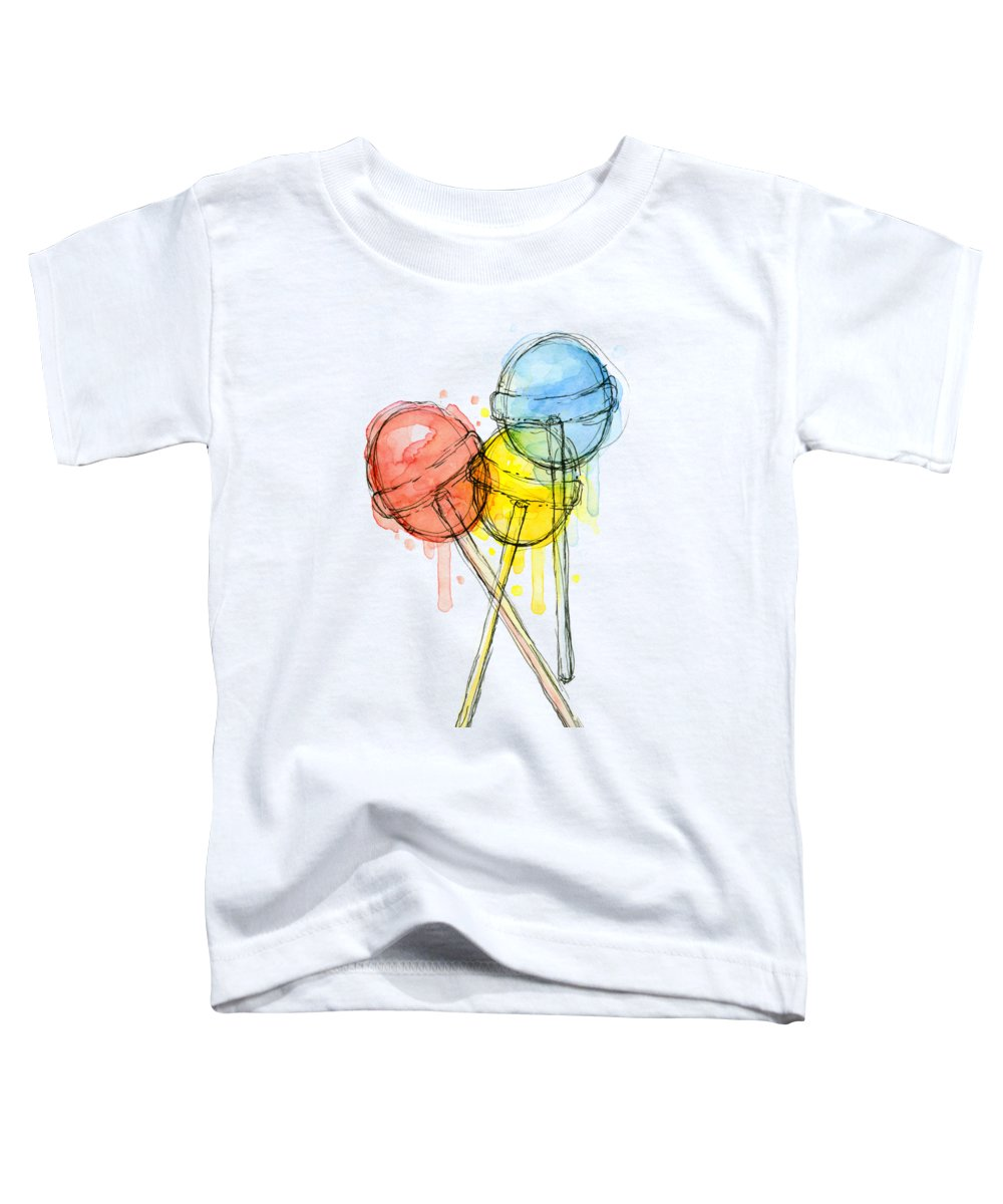 Lollipop Toddler T-Shirt featuring the painting Lollipop Candy Watercolor by Olga Shvartsur
