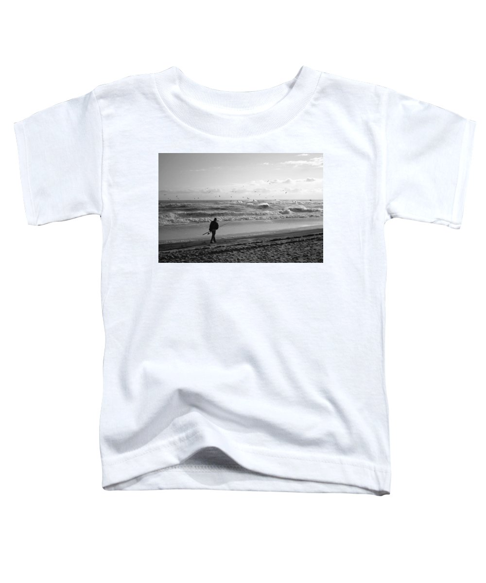 Sea Toddler T-Shirt featuring the photograph Lone Fisherman by Linda C Johnson