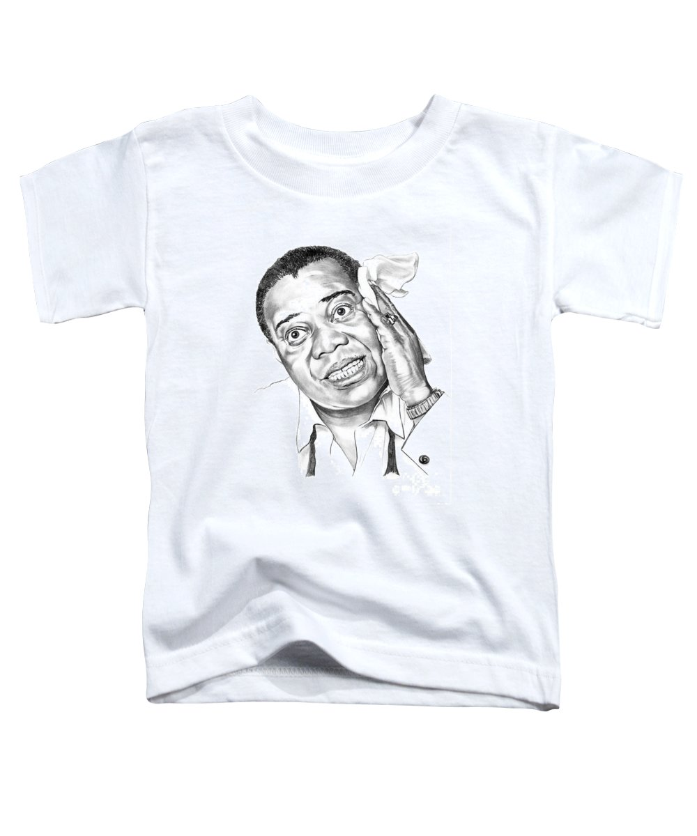 Music Toddler T-Shirt featuring the drawing Louis Satchmo Armstrong by Murphy Elliott