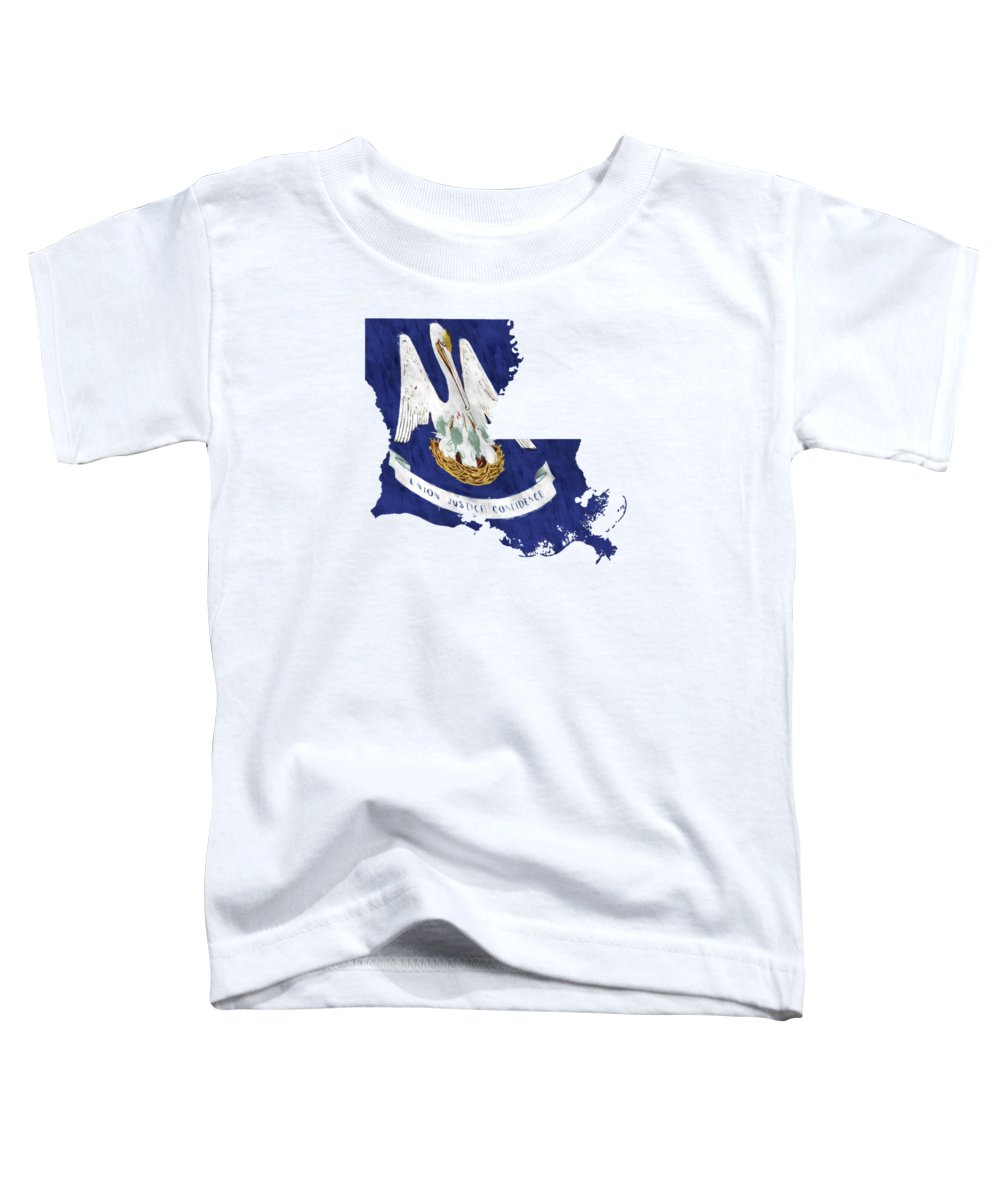 America Toddler T-Shirt featuring the digital art Louisiana Map Art With Flag Design by World Art Prints And Designs