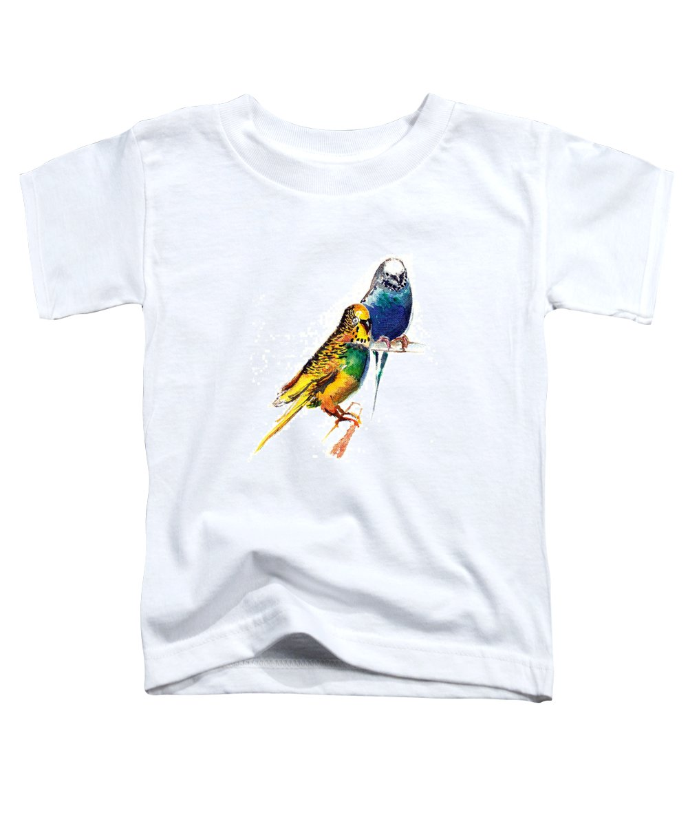 Nature Toddler T-Shirt featuring the painting Love Birds by Anil Nene