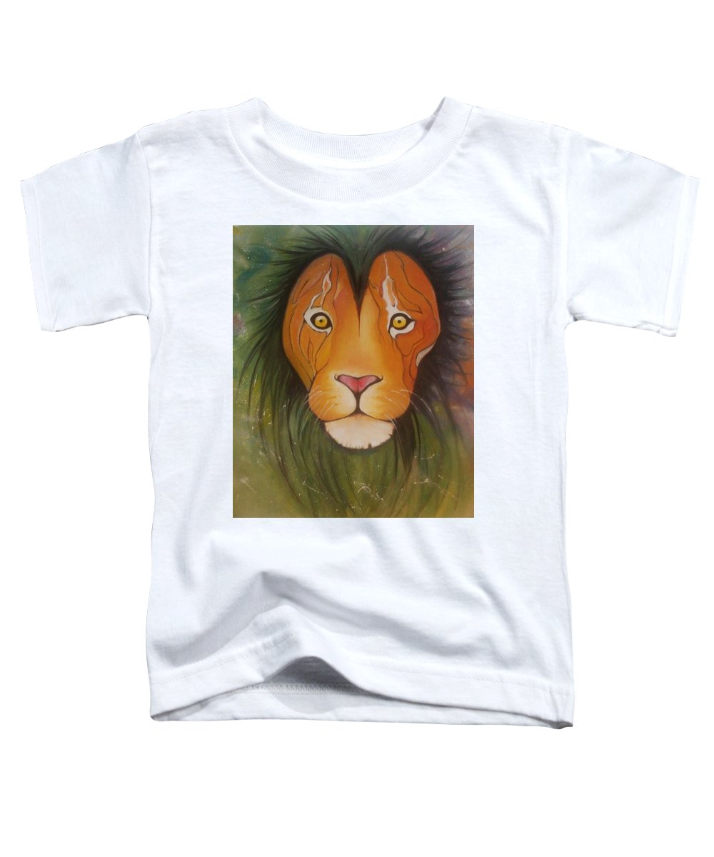#lion #oilpainting #animal #colorful Toddler T-Shirt featuring the painting Lovelylion by Anne Sue