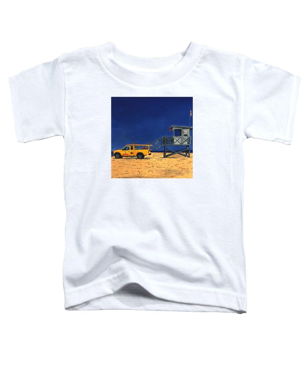 Modern Toddler T-Shirt featuring the painting Manhattan Beach Lifeguard Station Side by Lance Headlee