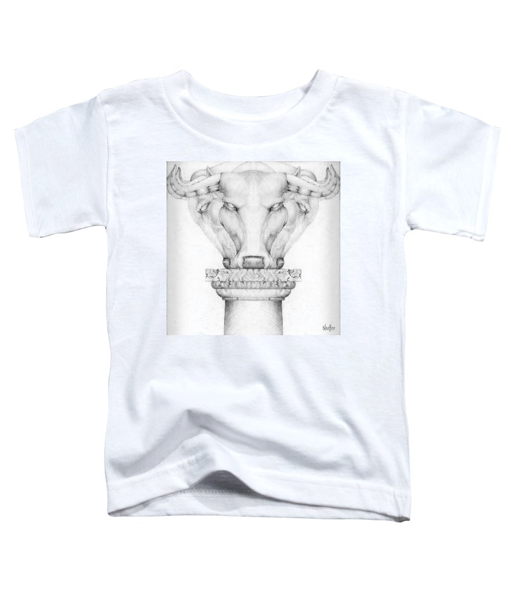 Bull Toddler T-Shirt featuring the drawing Mesopotamian Capital by Curtiss Shaffer