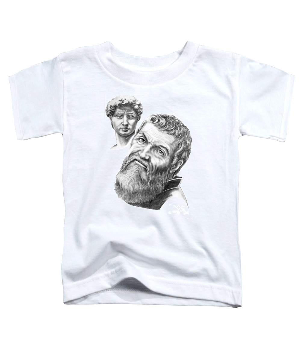 Michelangelo Toddler T-Shirt featuring the drawing Michelangelo And David by Murphy Elliott