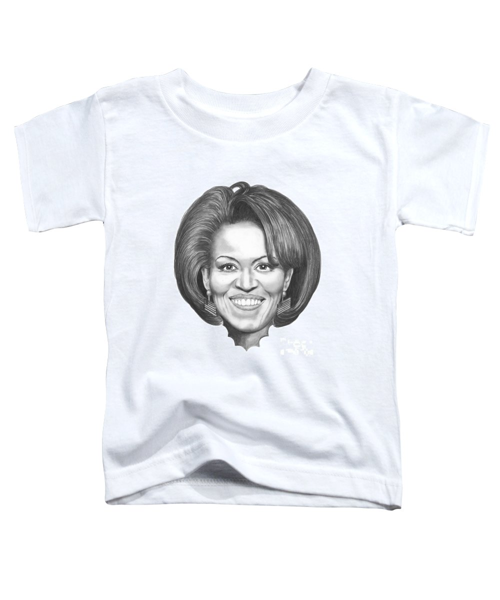 Drawing Toddler T-Shirt featuring the drawing Michelle Obama by Murphy Elliott