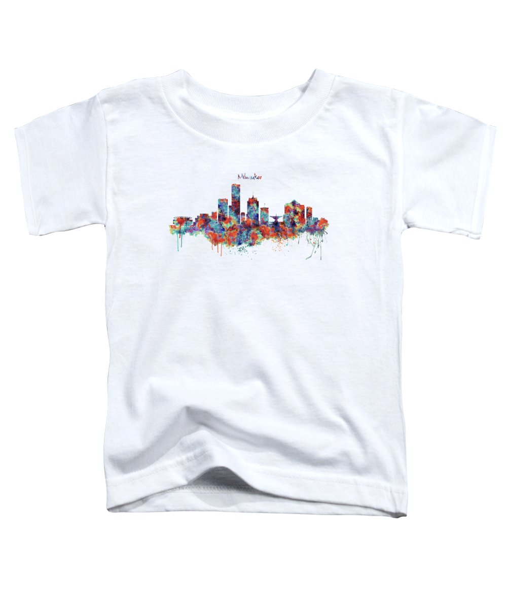 Milwaukee Toddler T-Shirt featuring the mixed media Milwaukee Watercolor Skyline by Marian Voicu
