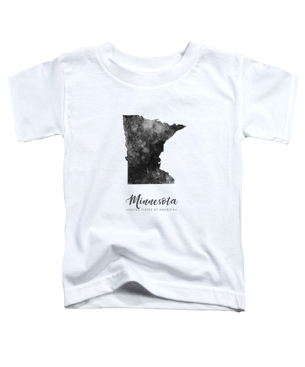 Minnesota Toddler T-Shirt featuring the mixed media Minnesota State Map Art - Grunge Silhouette by Studio Grafiikka