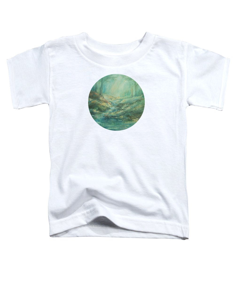 Nature Art Toddler T-Shirt featuring the painting The Misty Forest Stream by Mary Wolf