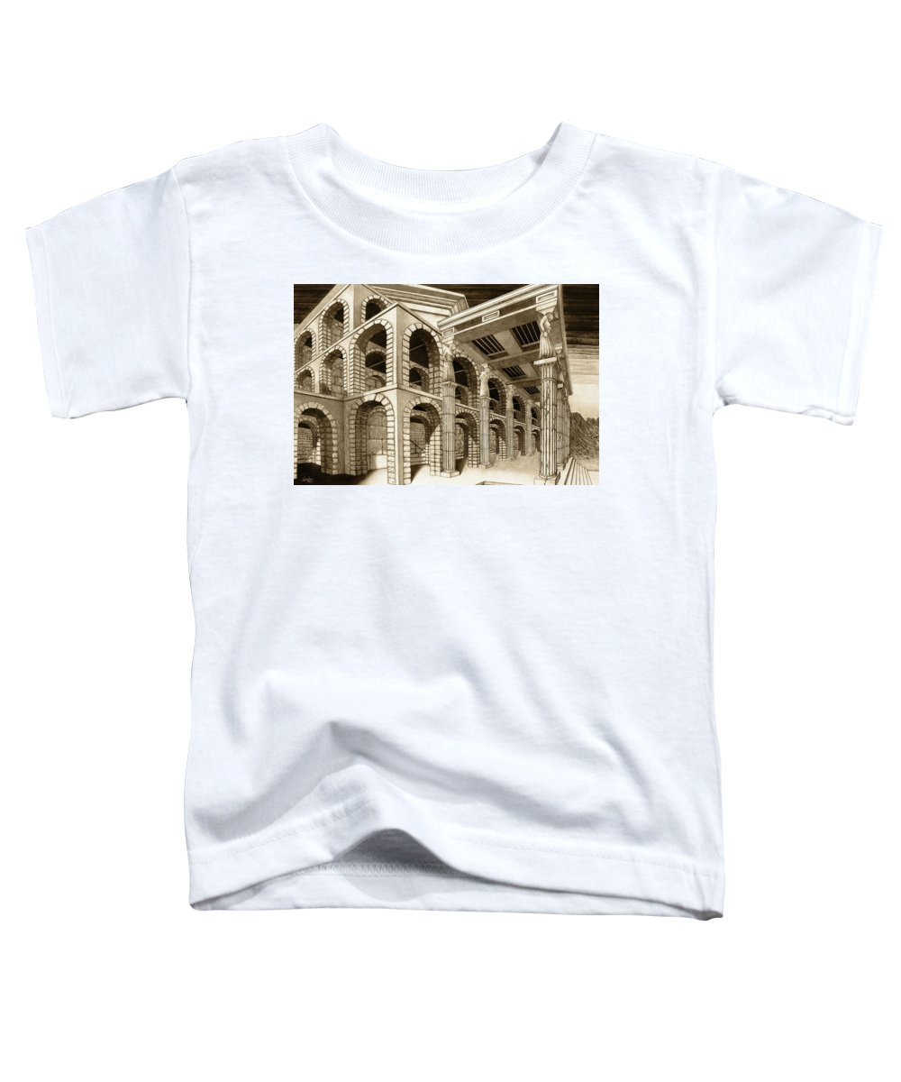 Mithlond Toddler T-Shirt featuring the drawing Mithlond Gray Havens by Curtiss Shaffer