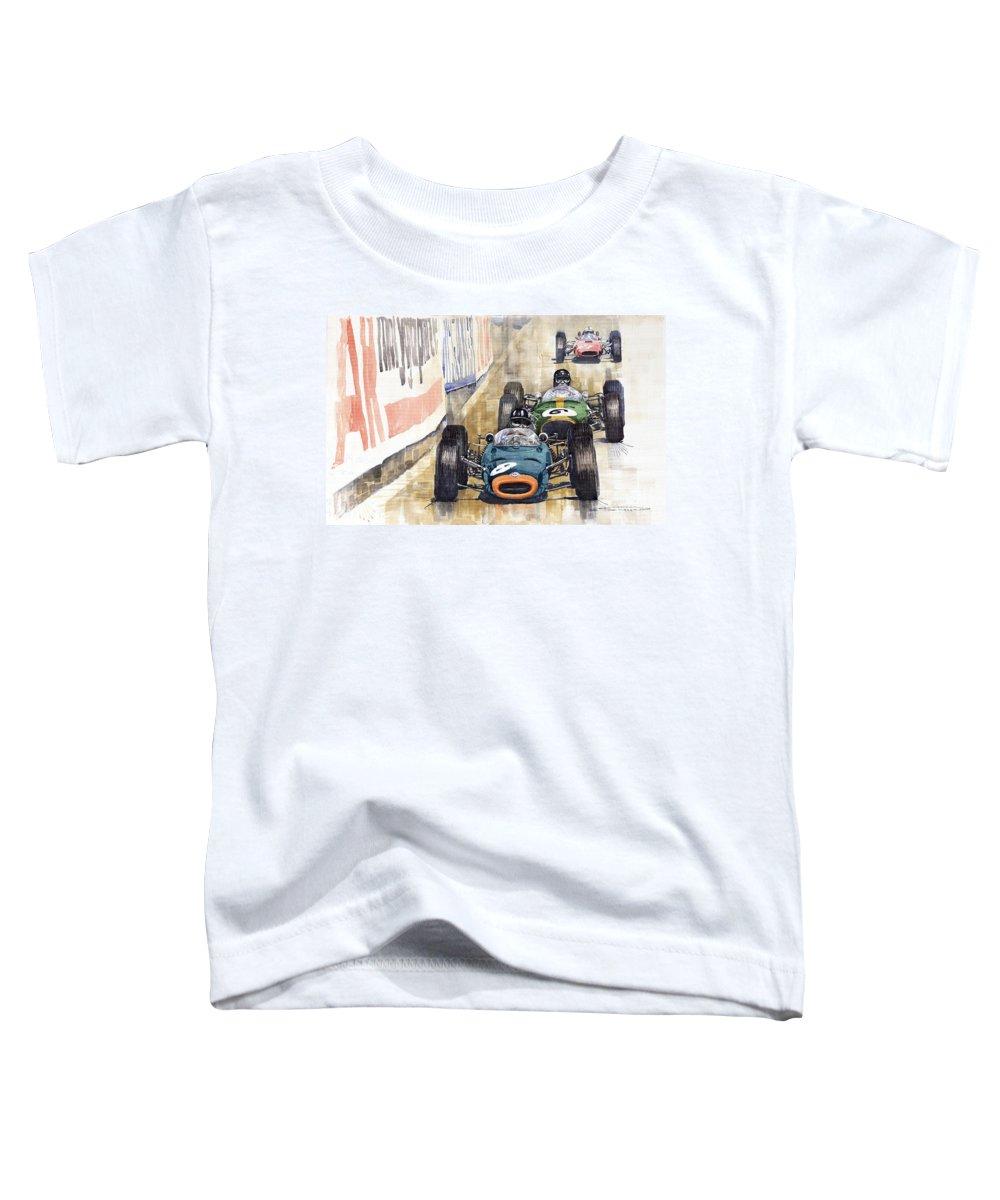 Watercolour Toddler T-Shirt featuring the painting Monaco Gp 1964 Brm Brabham Ferrari by Yuriy Shevchuk
