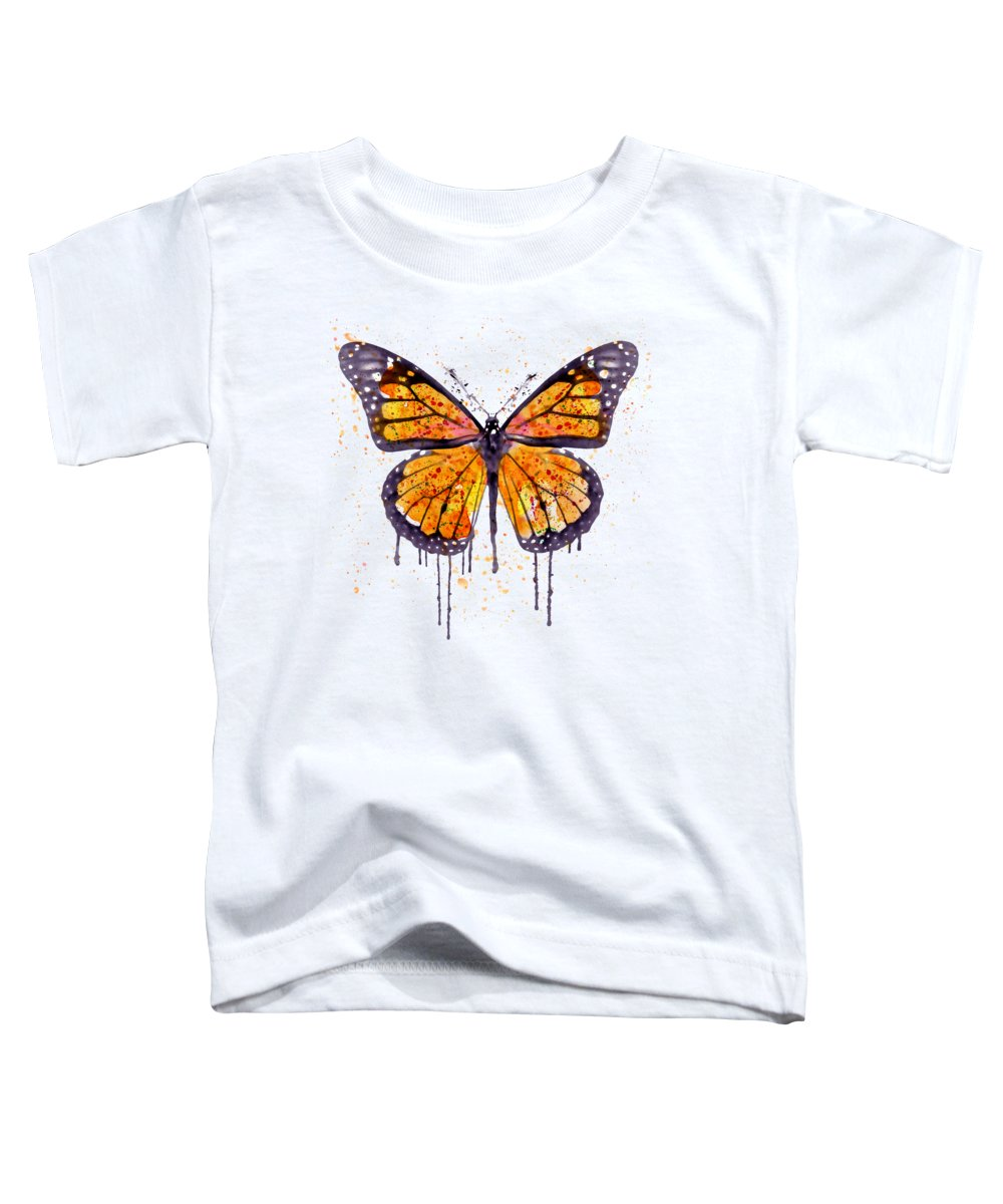 Monarch Butterfly Toddler T-Shirt featuring the painting Monarch Butterfly Watercolor by Marian Voicu