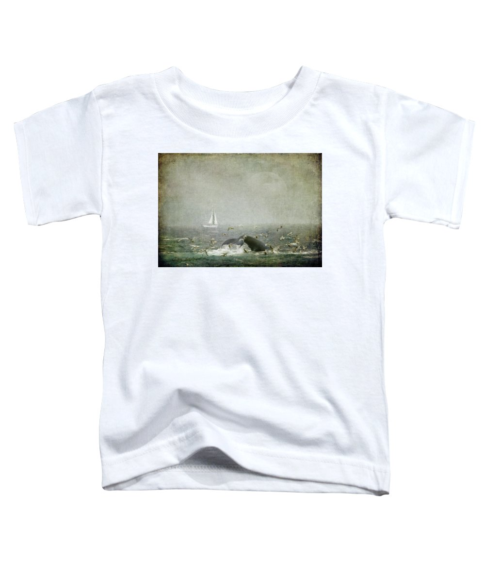 Sailboat Toddler T-Shirt featuring the digital art Morning In Stellwagen Bank by Linda Lee Hall