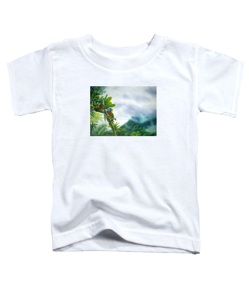 Chris Cox Toddler T-Shirt featuring the painting Mountain High - St. Lucia Parrots by Christopher Cox