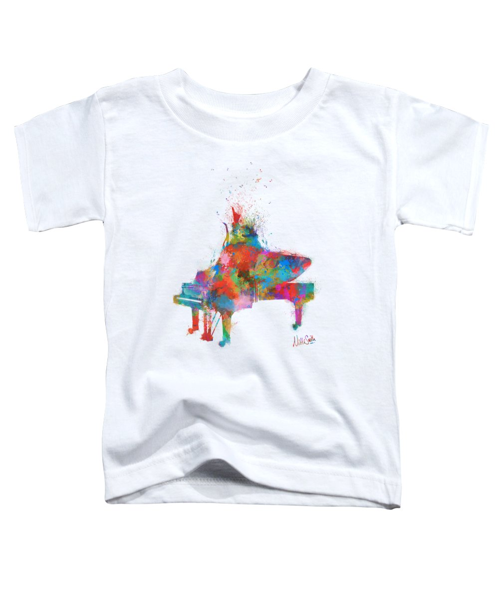 Piano Toddler T-Shirt featuring the digital art Music Strikes Fire From The Heart by Nikki Marie Smith