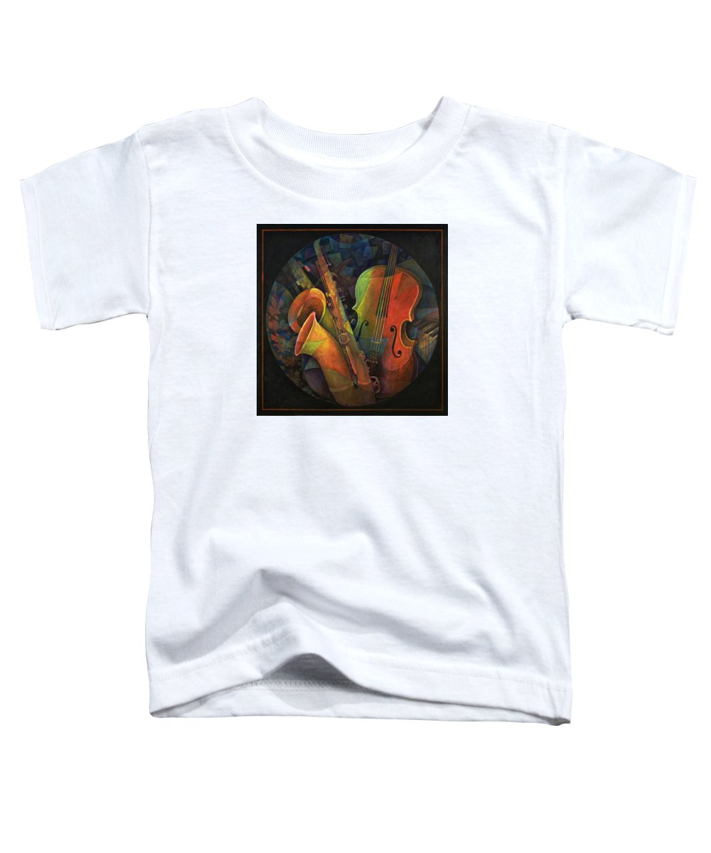 Susanne Clark Toddler T-Shirt featuring the painting Musical Mandala - Features Cello And Sax's by Susanne Clark
