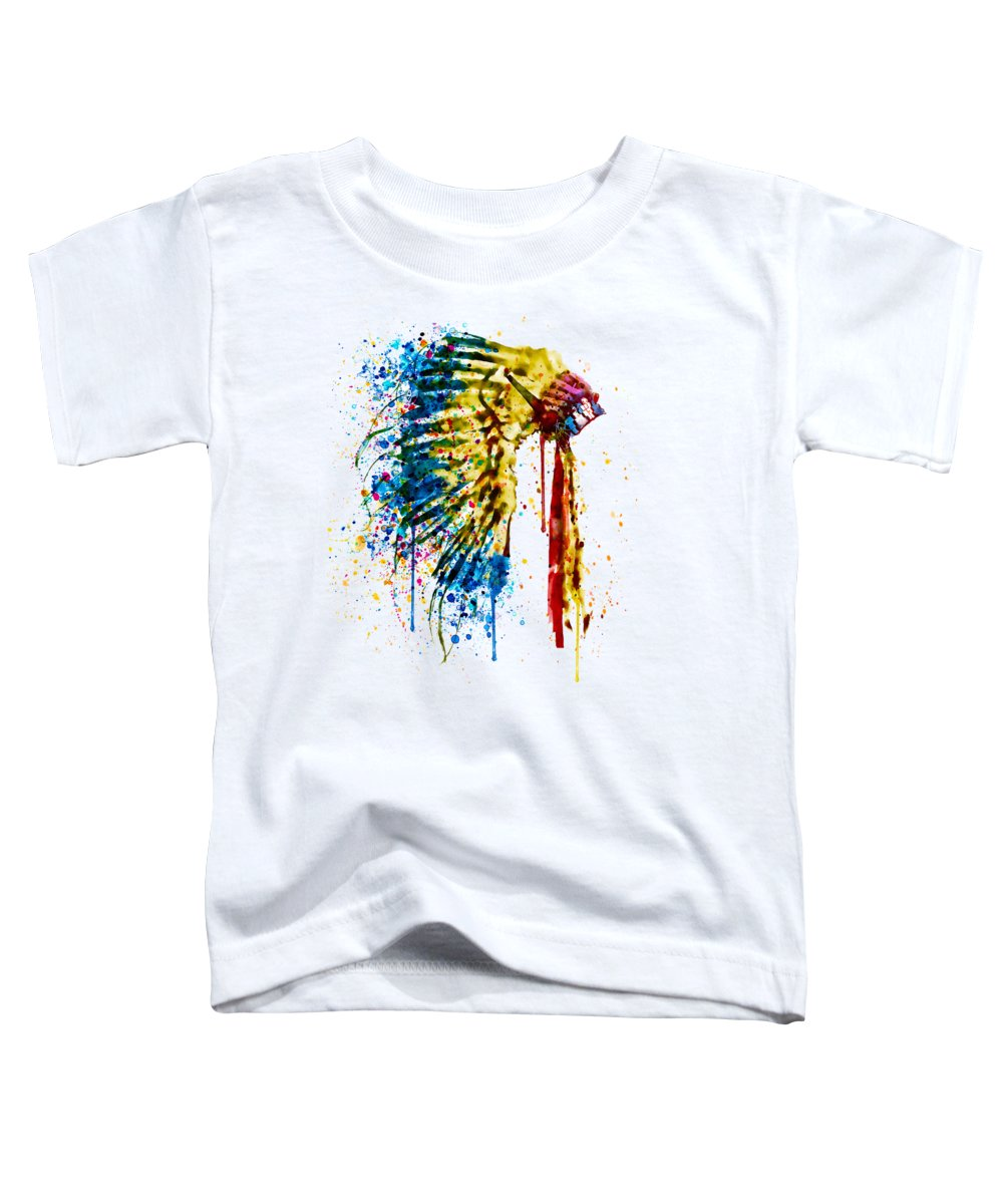 Native American Toddler T-Shirt featuring the painting Native American Feather Headdress  by Marian Voicu