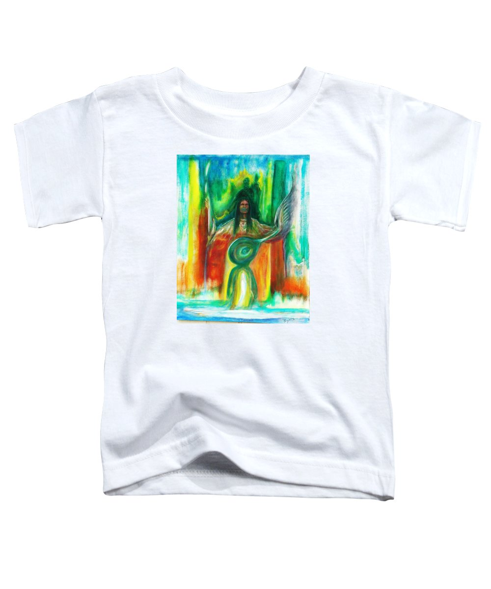 Native American Toddler T-Shirt featuring the painting Native Awakenings by Kicking Bear Productions