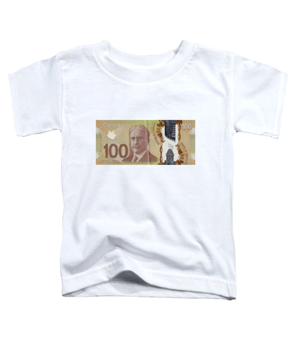 'paper Currency' By Serge Averbukh Toddler T-Shirt featuring the digital art New One Hundred Canadian Dollar Bill by Serge Averbukh