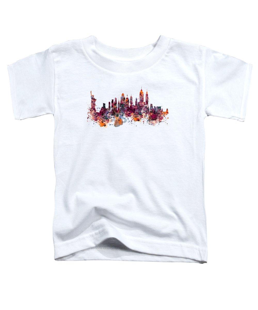 Manhattan Skyline Paintings Toddler T-Shirts