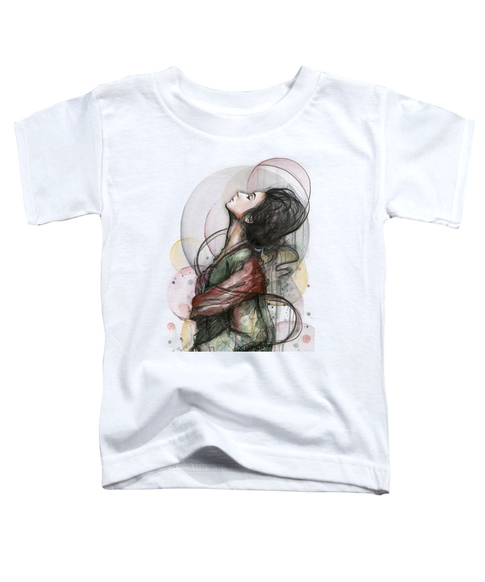 Watercolor Toddler T-Shirt featuring the painting Beautiful Lady by Olga Shvartsur