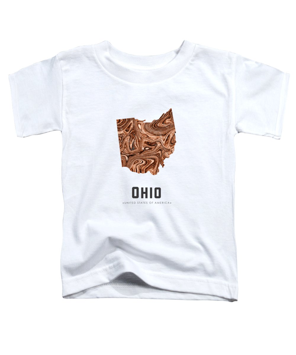 Ohio Toddler T-Shirt featuring the mixed media Ohio Map Art Abstract In Brown by Studio Grafiikka