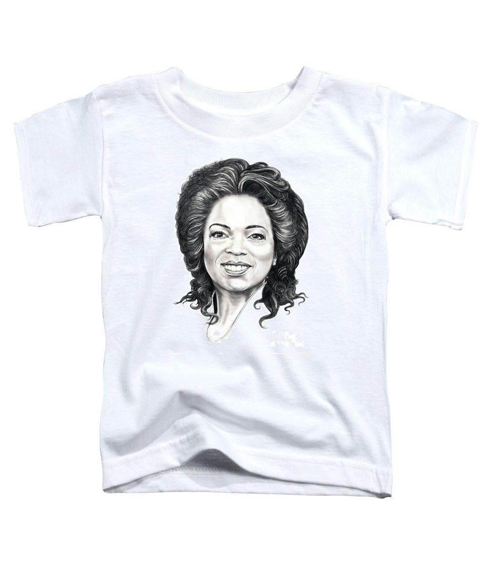 Oprah Toddler T-Shirt featuring the drawing Oprah Winfrey by Murphy Elliott