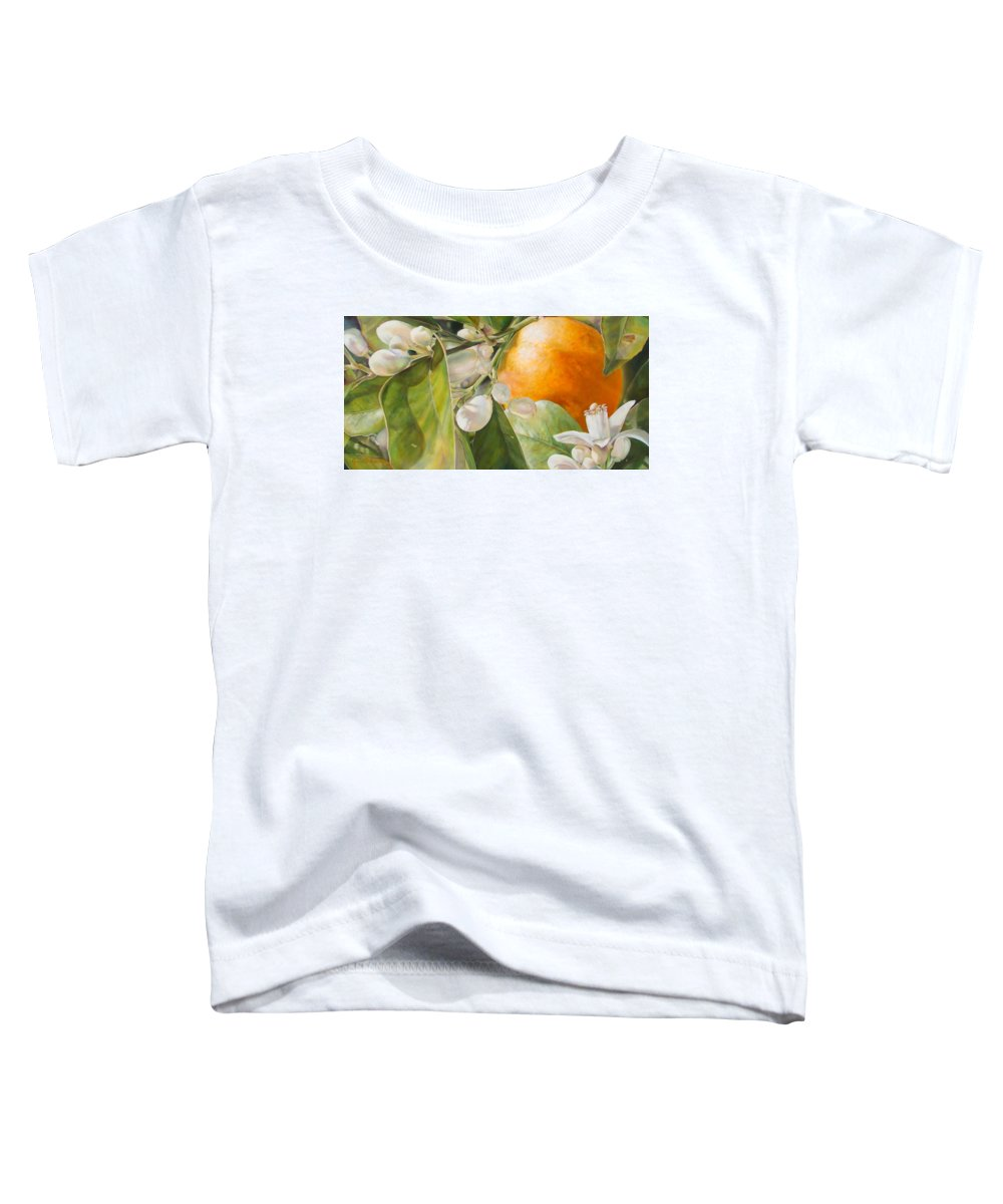 Floral Painting Toddler T-Shirt featuring the painting Orange Fleurie by Dolemieux