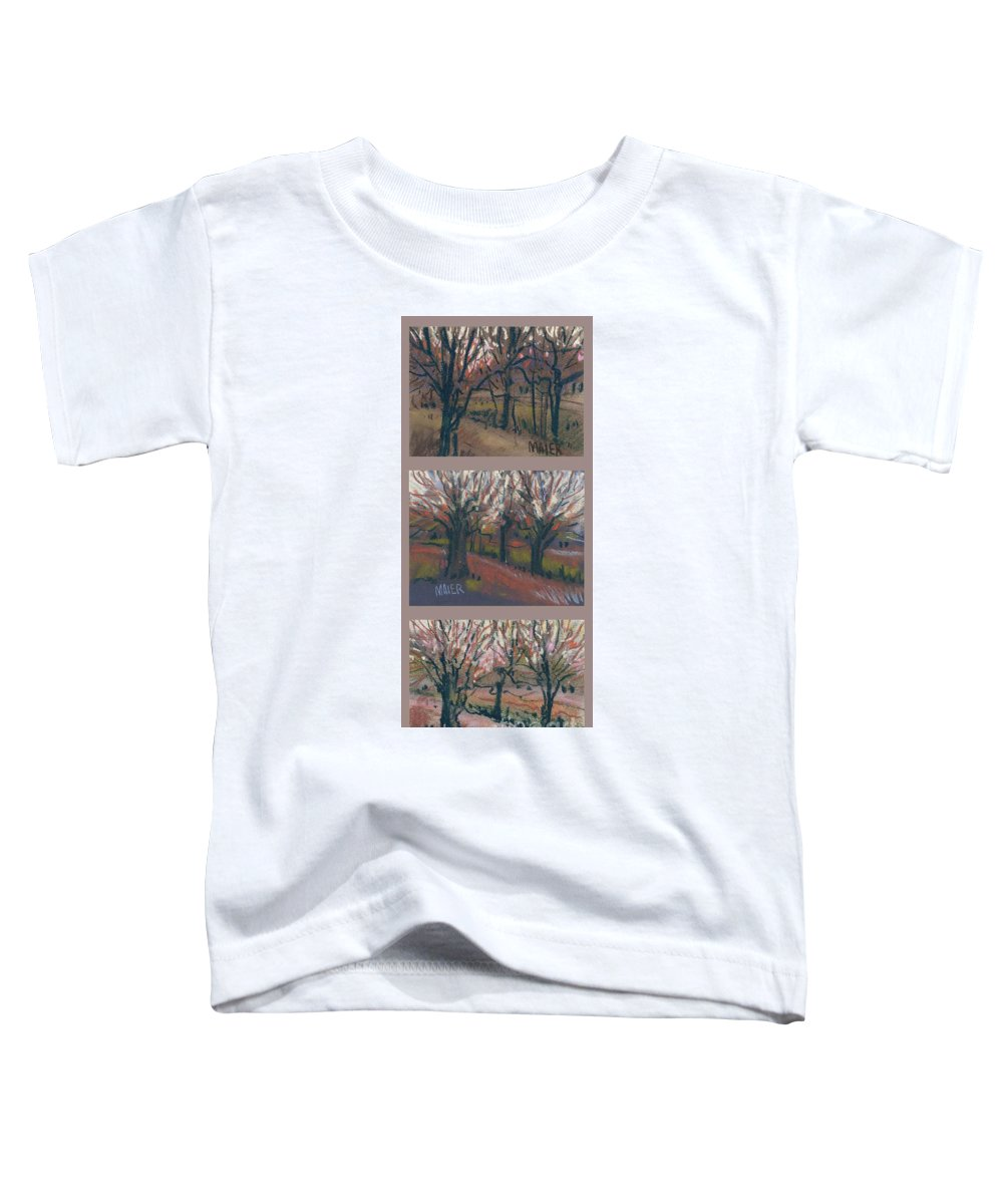 Pastel Toddler T-Shirt featuring the drawing Orchard Sunset by Donald Maier