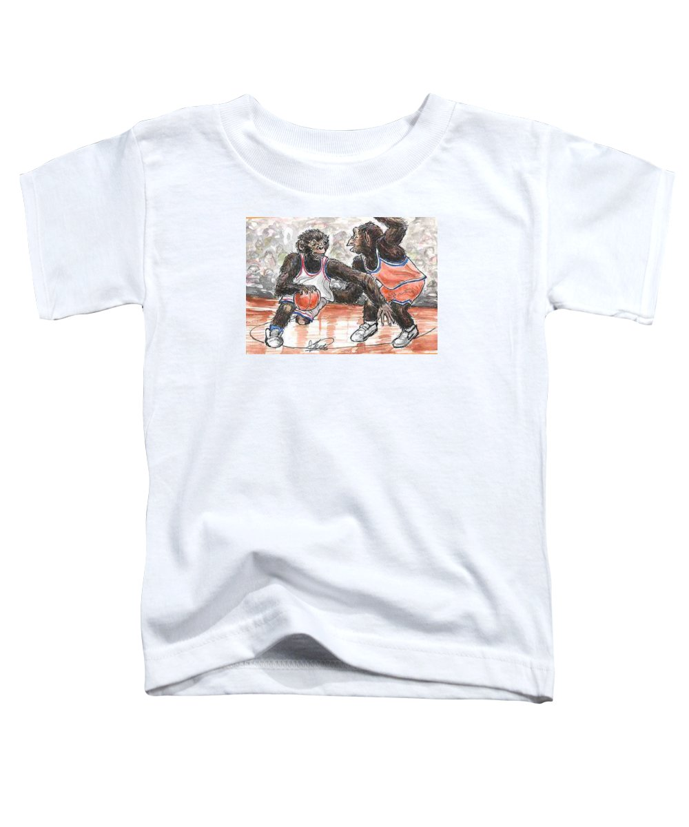 Basketball Toddler T-Shirt featuring the painting Out Of My Way by George I Perez