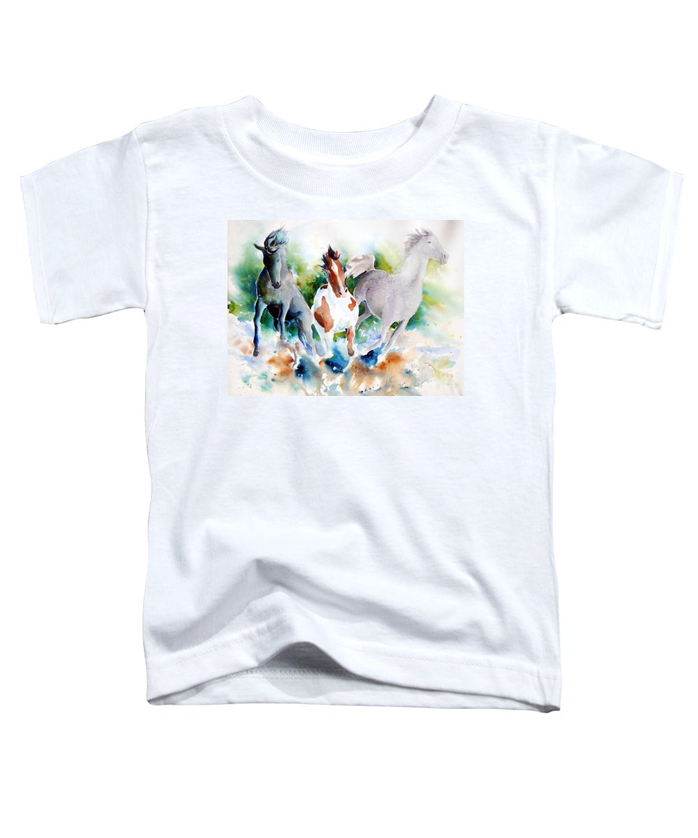 Horses Toddler T-Shirt featuring the painting Out Of Nowhere by Christie Michelsen
