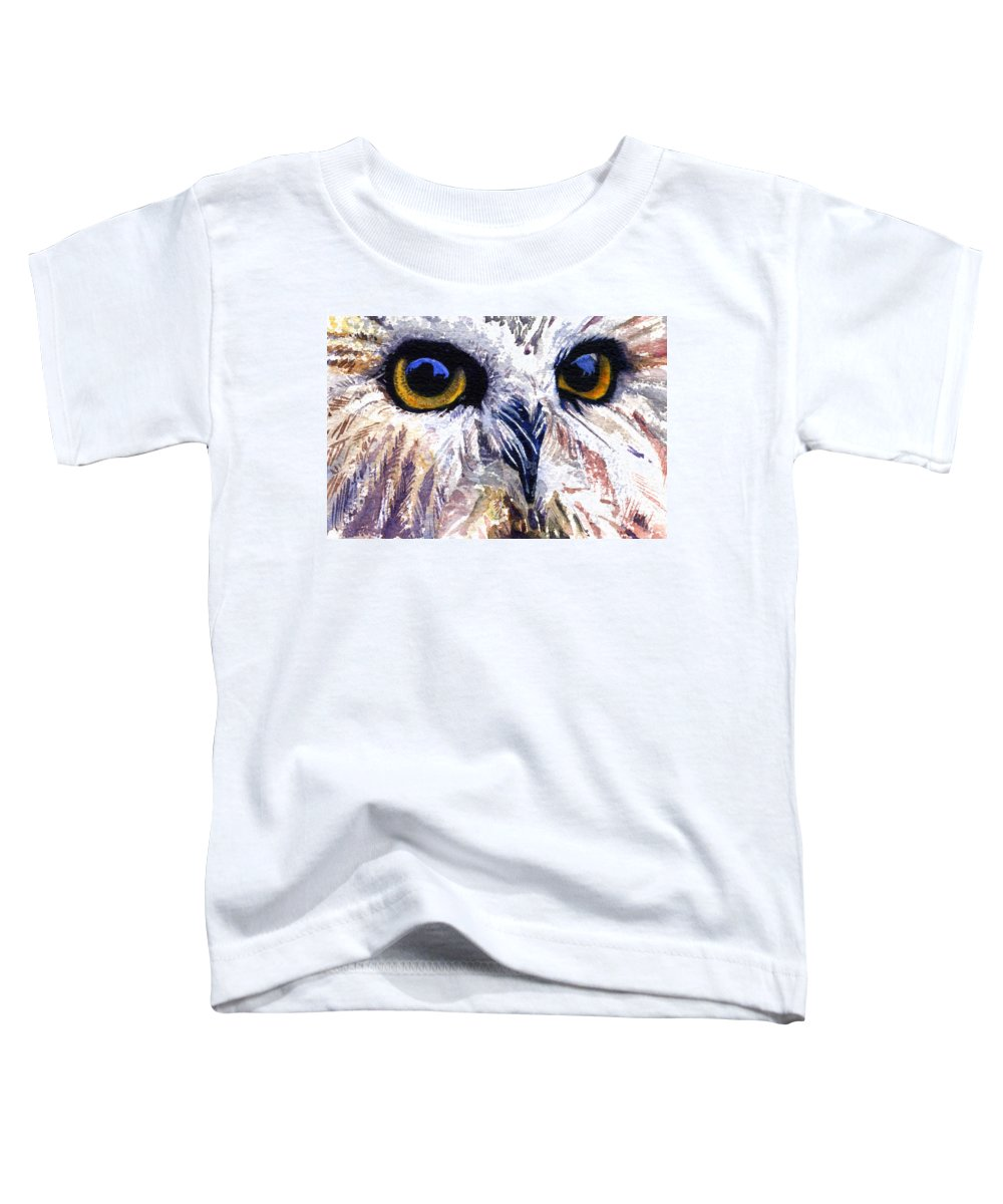 Eye Toddler T-Shirt featuring the painting Owl by John D Benson