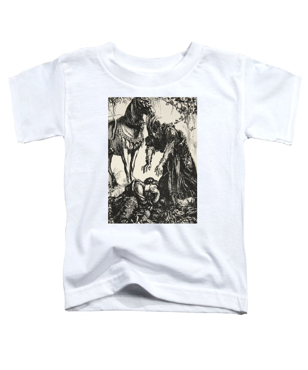 Arthurian Legend Toddler T-Shirt featuring the drawing Palamides Appeared Before Isolde by Dora Curtis