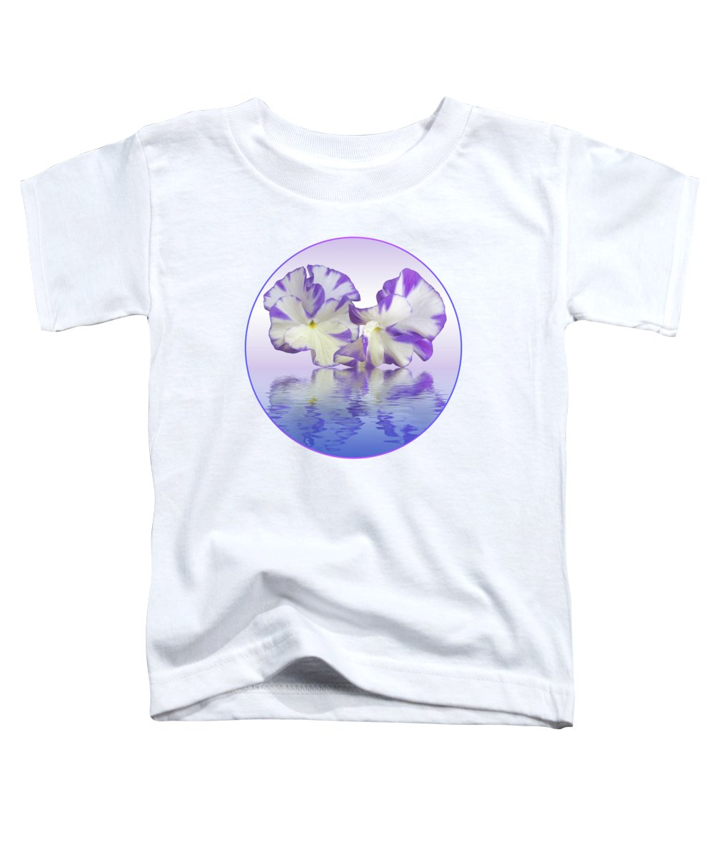 Purple Pansy Toddler T-Shirt featuring the photograph Pansy Reflections by Gill Billington