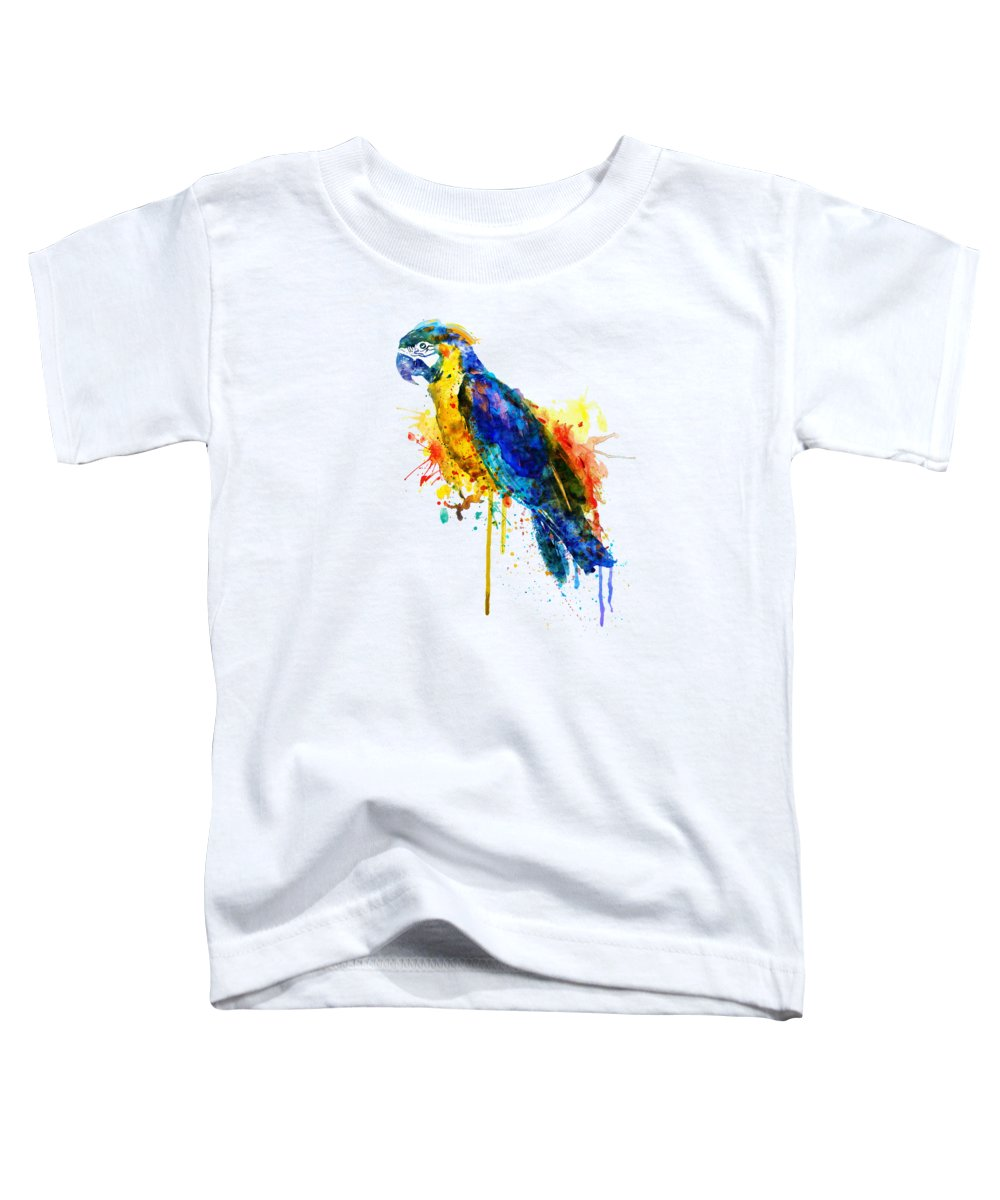 Parrot Toddler T-Shirt featuring the painting Parrot Watercolor by Marian Voicu