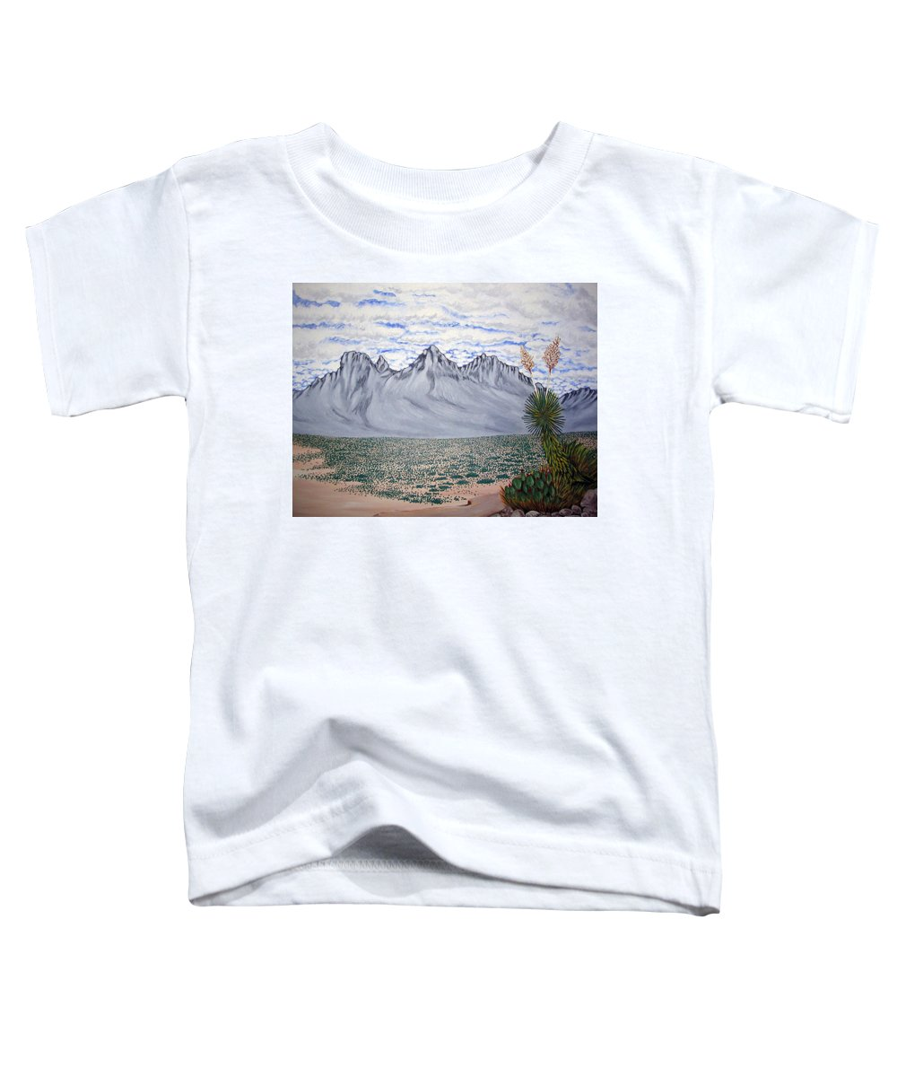 Desertscape Toddler T-Shirt featuring the painting Pass of the North by Marco Morales
