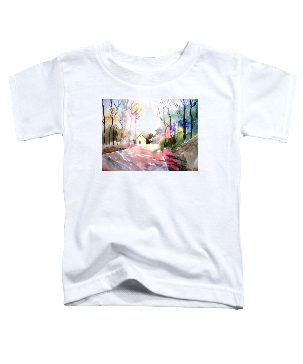 Nature Toddler T-Shirt featuring the painting Path In Colors by Anil Nene